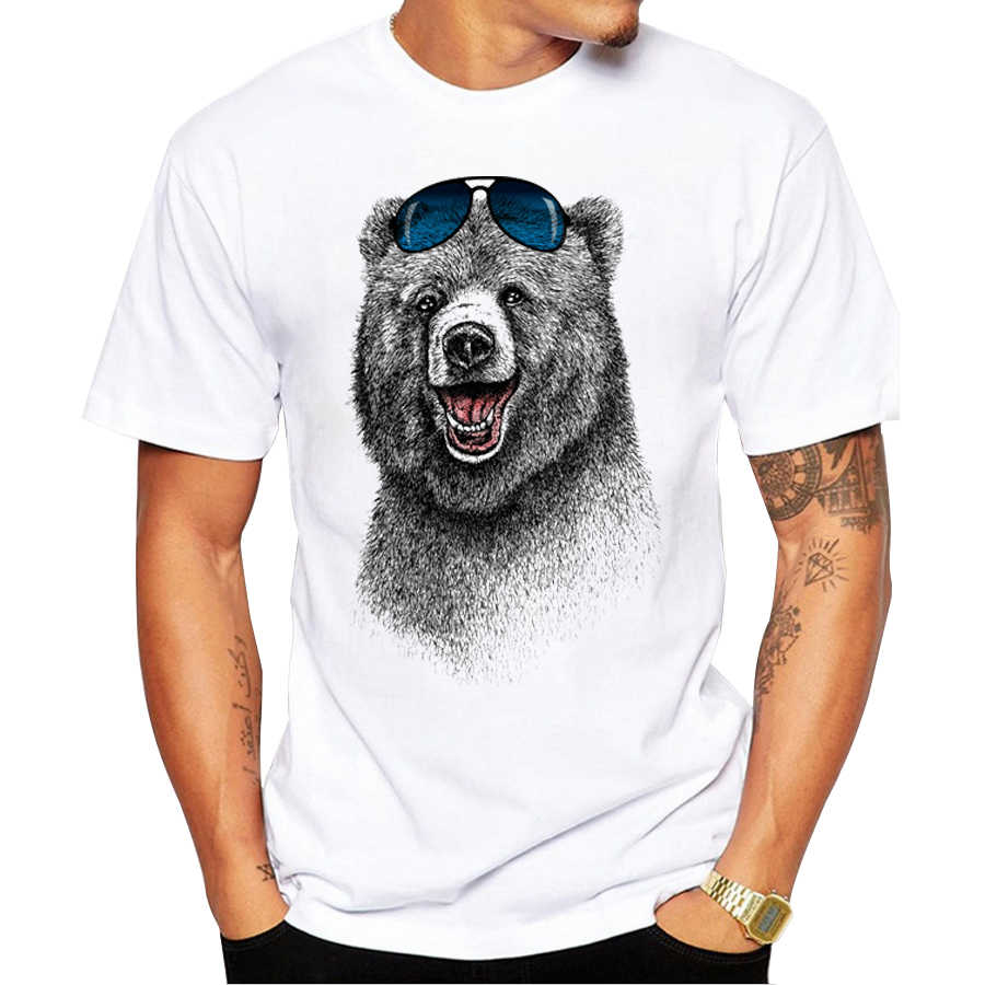 2018 Cheapest Fashion Laughing Bear Men T-shirt Short sleeve men The Happiest Bear Retro Printed T Shirts Casual Funny Tops