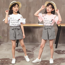цена на Fashion Teenage Girls Baby Clothing Summer Kids White Pink Letter Rose T shirt + Plaid Shorts Child Clothing Set 4- 13 Years Old