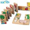 Montessori Wooden Puzzles Animal Domino 15pcs Kids Baby Toys For Children Juguetes Oyuncak Brinquedos Brinquedo 46