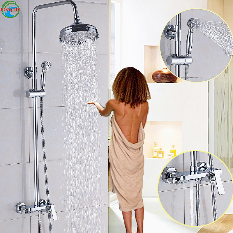8 Solid Brass Chrome 1 Set Shower Head Bathroom Faucet Mixer Tap Shower Faucet Rainfall Round