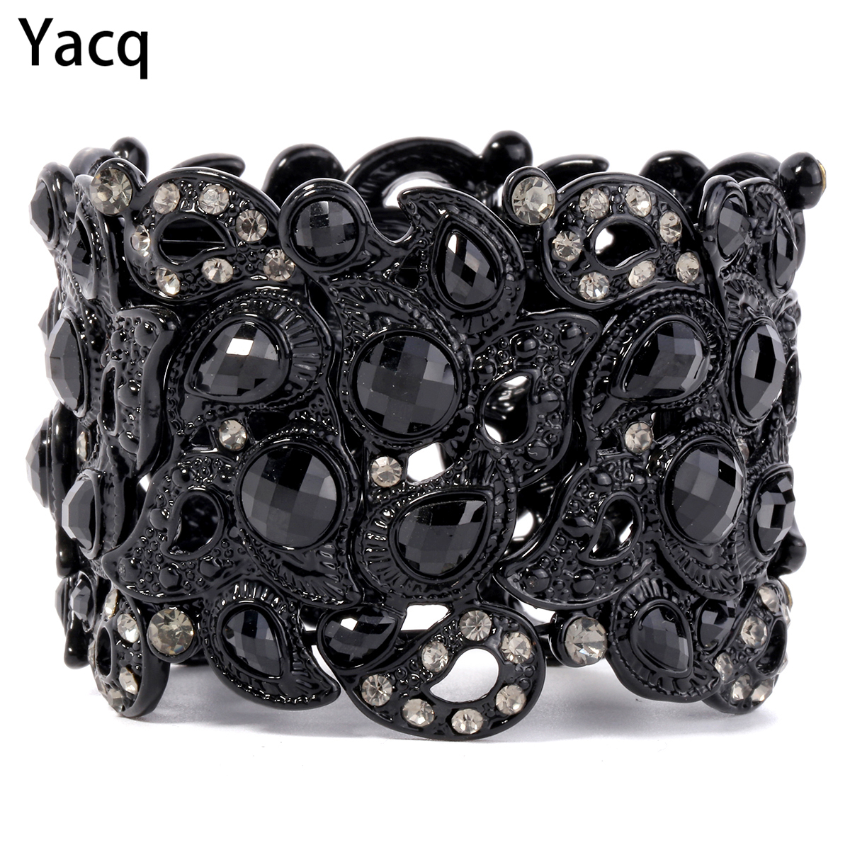 Yacq Stretch Bracelet Vintage Flower Crystal Women Fashion