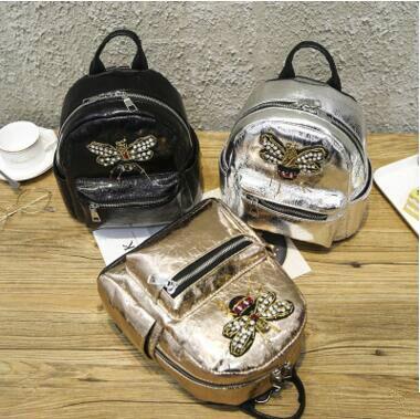 Hot Luxury Diamond Cartoon Bee Cute Backpack Small Pu Leather Backpack Women Rucksack Holographic School Bags