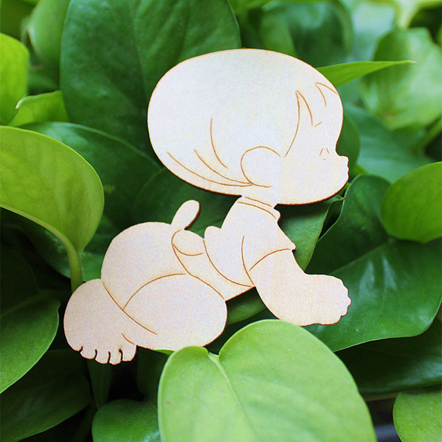 Wooden Laser Cut Cute Baby Shape Craft Wedding Guestbook Decoupage Family  Christmas Home Decorations Wood Crafts