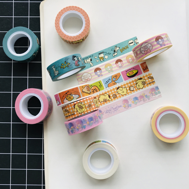 1 Roll 15mm*10m Cute Little Twin Star Melody Dogs Masking Tape Album Scrapbooking Decor Label Washi Tape