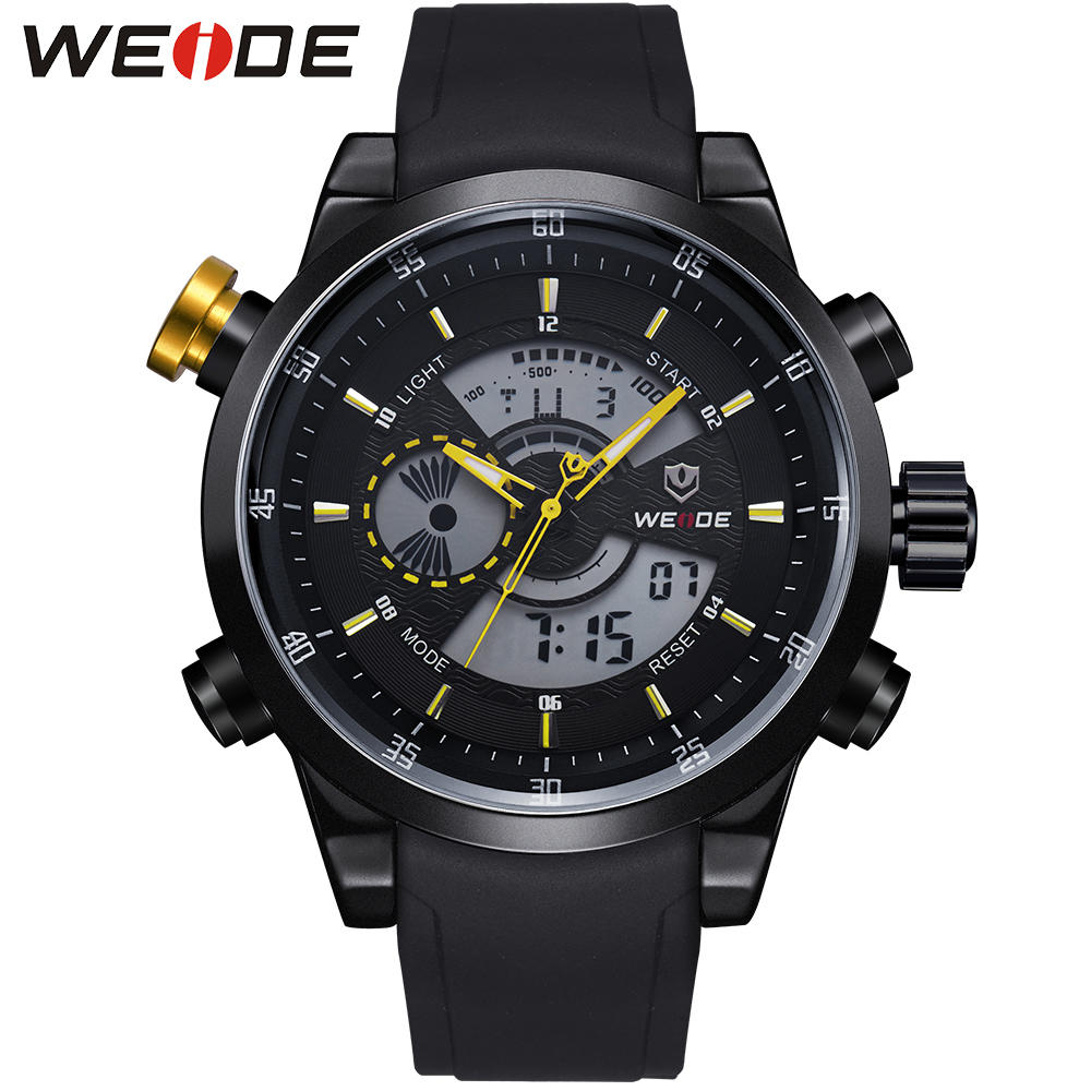 WEIDE Popular Brand Watch Men Quartz Double Movement Analog Digital Date Alarm Stopwatch Display Waterproof PU Straps Watches weide popular brand new fashion digital led watch men waterproof sport watches man white dial stainless steel relogio masculino