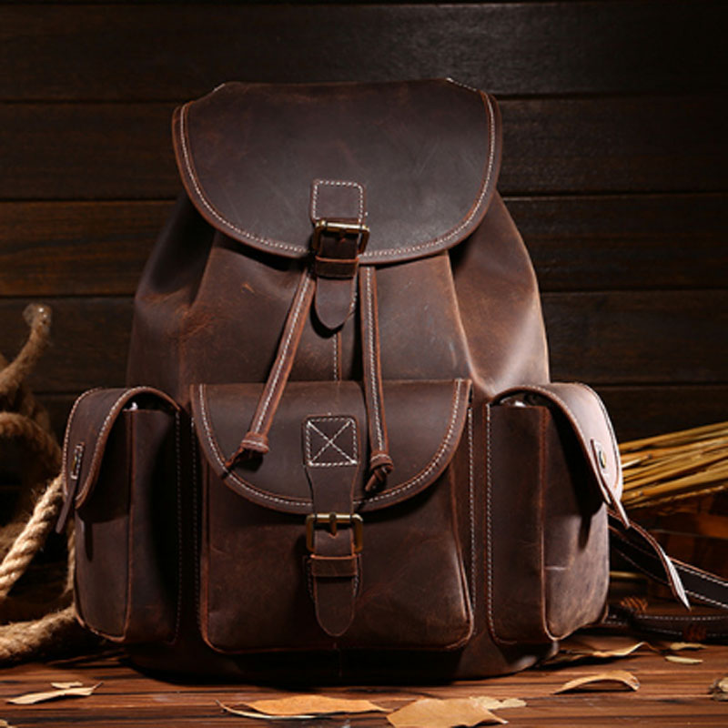 Crazy Horse Cowhide High Quality Knapsack Male Computer Bag School Bags Vintage Genuine Leather Rucksack trend travel BackpackCrazy Horse Cowhide High Quality Knapsack Male Computer Bag School Bags Vintage Genuine Leather Rucksack trend travel Backpack