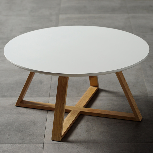 Nordic Style Side Table, Fashion Popular Design Small Coffee Desk Round Snack  Table Wood Leg
