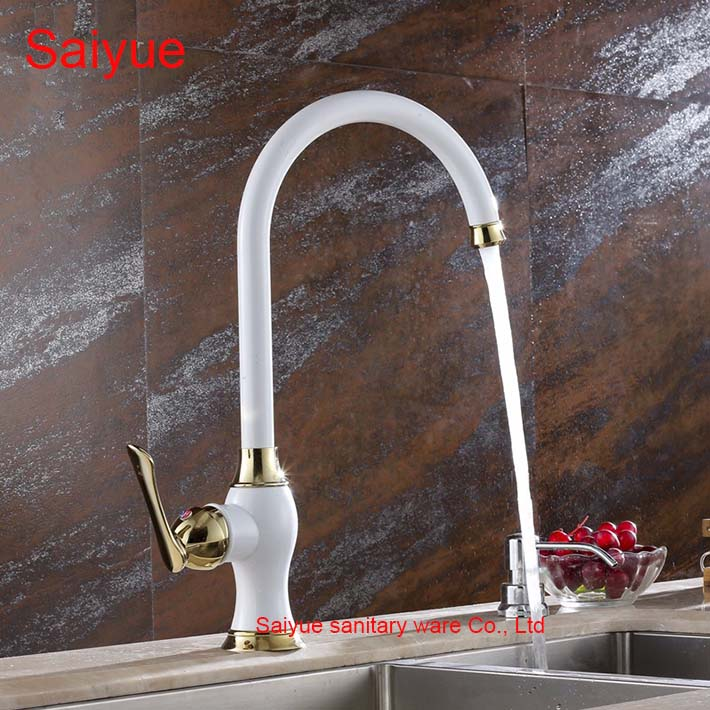 Royal White Painting Perfect Single Hole Mount Kitchen Solid Brass Faucet Mixer Taps Hot and Cold