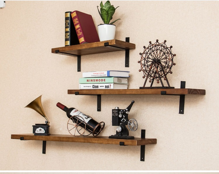 1 Pair(2Pcs) /Lot Wall-Mounted Rustic Rural  Bracket Brackets for 30CM Wide Floating Shelf With Screws