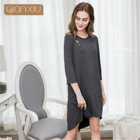 Qianxiu Autumn sleepwear for women modal Solid Color long Sleeve Night Dress Casual Round collar Knee length cotton SleepWear