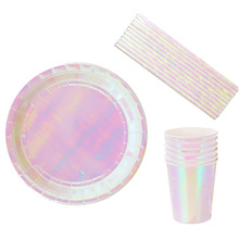 8pcs Disposable Tableware sets paper Plates/cups/straws Iridescent Wedding Birthday party rainbow Dish Eco-friendly