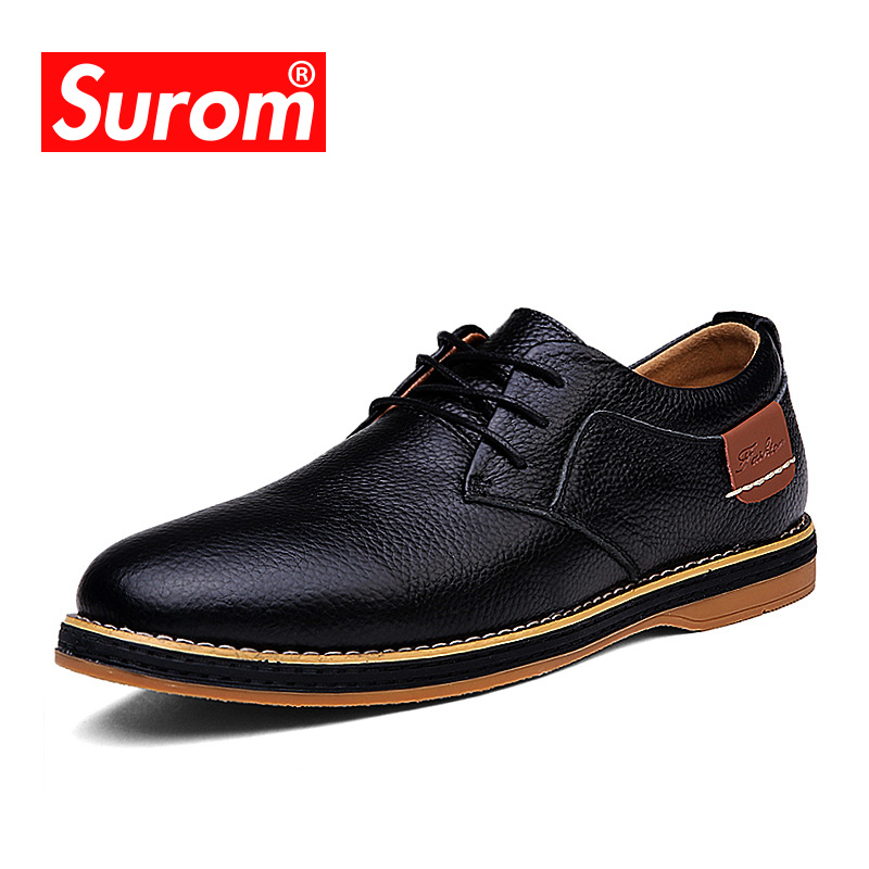 SUROM Luxury Brand Fashion Casual Shoes Spring Autumn New Lace Up Genuine Leather Men Flats Business Men Breathable Krasovki