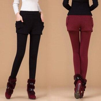Leggings de otoño para mujer, pantalones cortos falsos de dos piezas, pantalones cálidos de invierno para mujer, dropshipping
