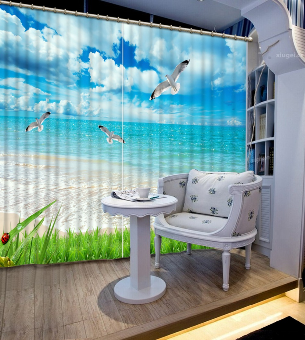 Cool Fashion Beach Blackout 3D Curtain For Window Modern Bedroom Curtains Photo Printed Sheer Curtains