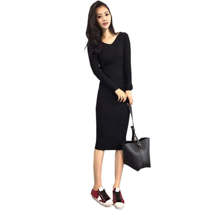 Vintage Slim Knit Dresses Fashion V-neck Long Sleeve Casual Knitted Sweater Dress Spring Ladies Elegant Black Dress RE0408