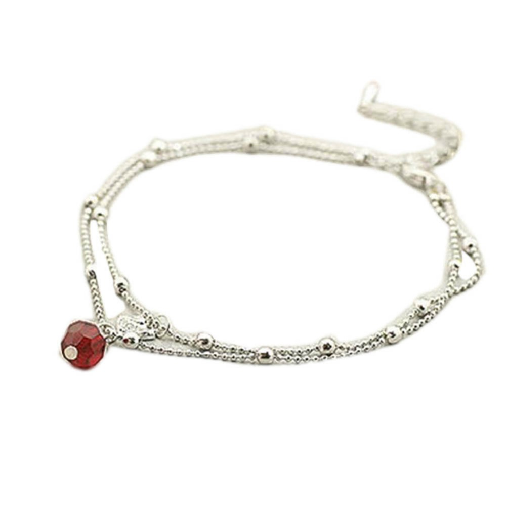 New Trendy Charming Jewelry Red Crystal Bead Shiny Swan Double Anklet Color Silver Plated Drop Shipping
