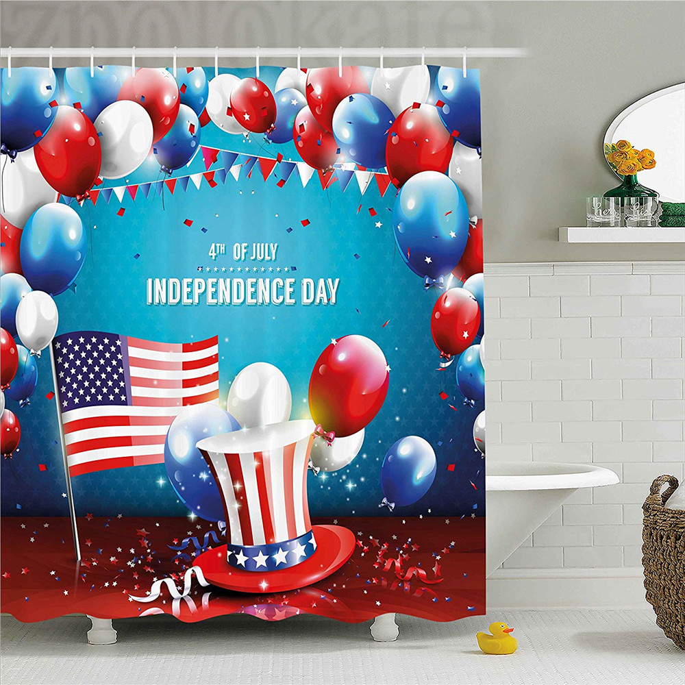 4th of July Decor Shower Curtain, Grunge American Flag Background with Stars and Stripes ...