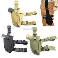 Universal tático Pistola Revólver Leg Holster Bolsa Titular com a Mão Direita Ajustável Puttee Coxa Titular Pouch