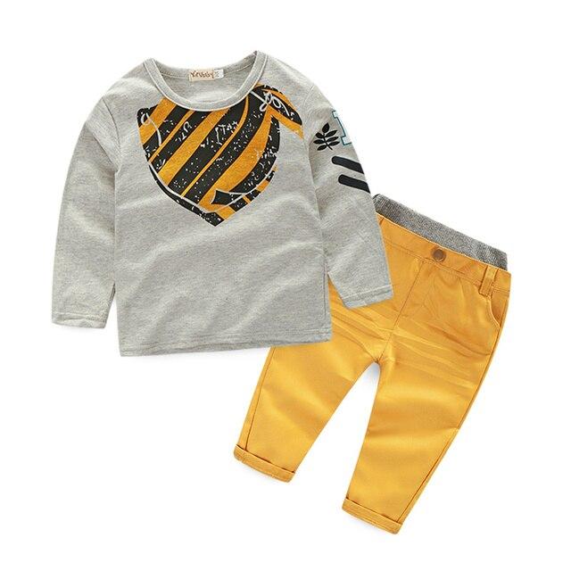 2017 Autumn Kids Casual Clothes Grey Long Sleeve Striped Fashion coat +yellow pants  Boys Clothing Set