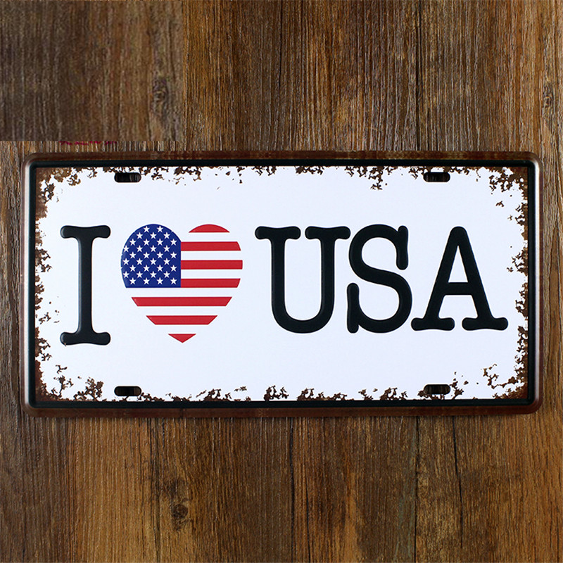 NEW 2015 metal vintage License tin signs car number I LOVE USA  bar wall art craft home decor 30*15 CM