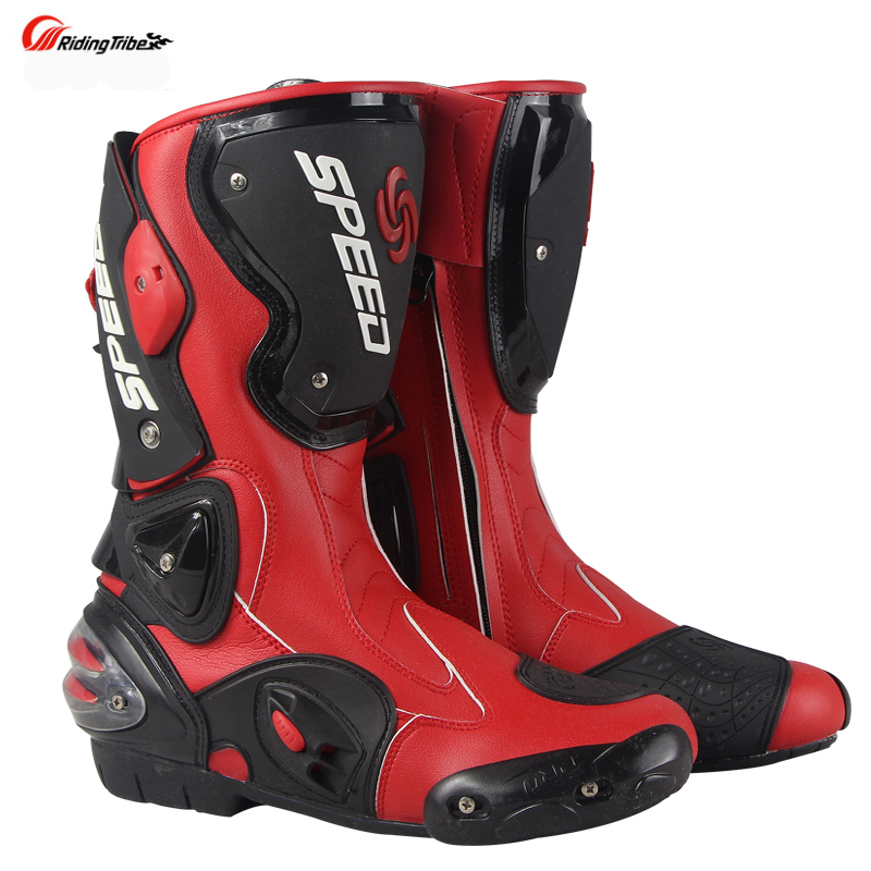Stivali Da moto Velocità degli uomini di Corse di Motocross In Microfibra In Pelle di Avvio Moto goccia resistenza stivali - 3