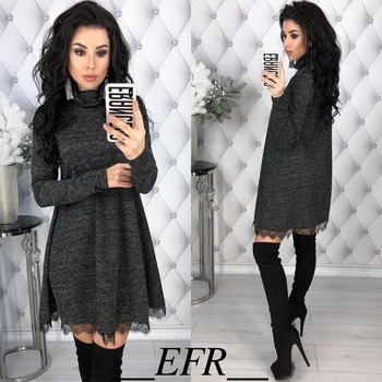 New Fashion Spring Winter Style Turtleneck Long Sleeve A-line Lace Hem Elegant Warm Dress Knitting Mini Vestidos Pluse Size 2
