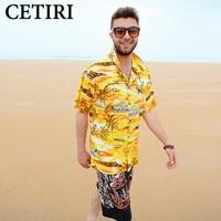 Hawaiian Shirt Mens Coconut Tree Floral Print Shirt Beach Aloha Cotton Yellow Nautical Shirt Summer Style