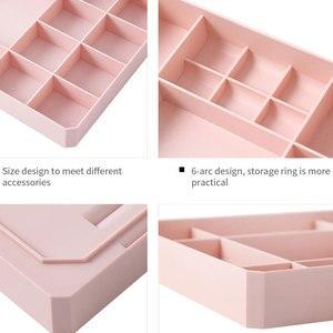 Image 5 - Caja de plástico multirejilla para decoración del hogar para joyería, anillo rectangular de plástico, tachuelas, reloj, collar, cajas organizadoras de joyería con tapa