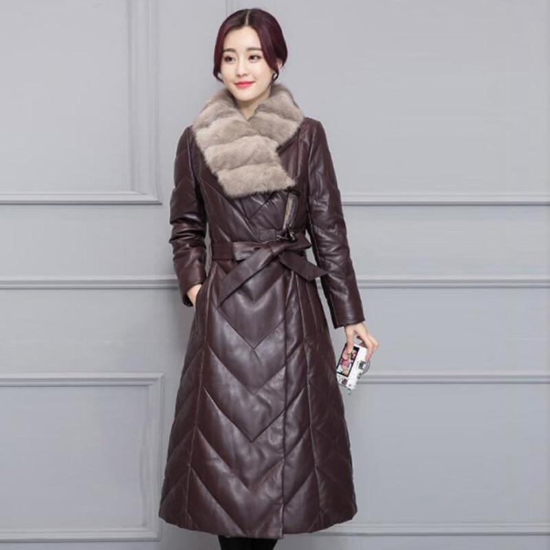 2018 Frauen Winter Leder Unten Jacke Neue Große Pelz Kragen Faux Leder Schlanke Lange Ente Unten Mantel Elegante Frauen Mantel Plus Szie Ausgereifte Technologien