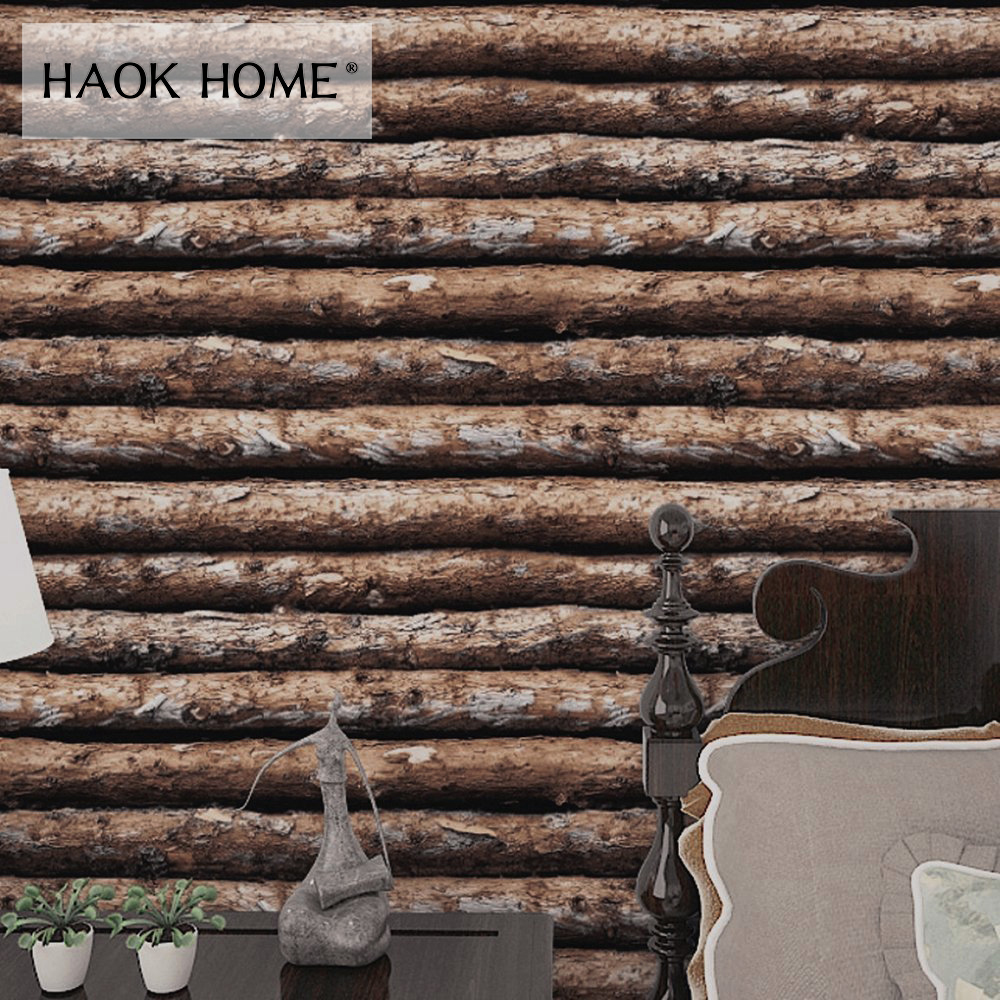 HaokHome 3d Vintage Faux Wood Panel pvc self adhesive Wallpaper Sticker Rolls Tan/Brown Bedroom Living room Wall Decoration network recovery
