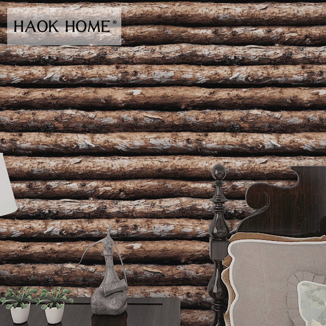 Haokhome Vintage Faux Wood Panel Pvc Self Adhesive Wallpaper Sticker Rolls Tan Brown Bedroom