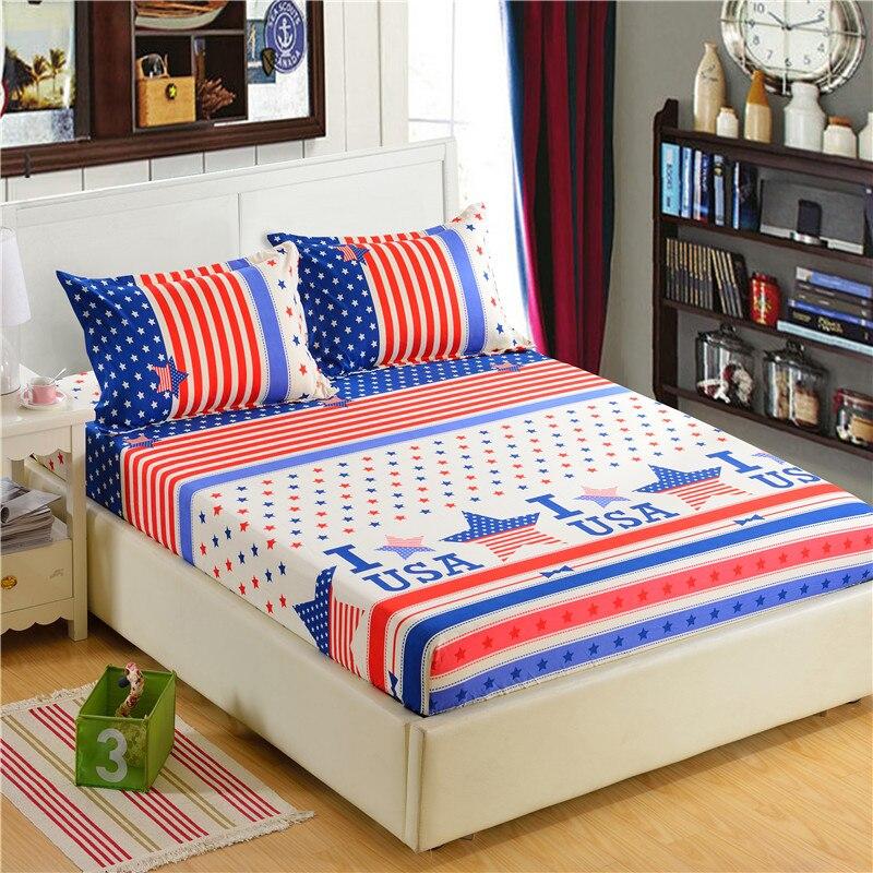 1pc 100% Polyester Fitted Sheet Madras Cover Udskrivning Bedding Fire - Hjem tekstil - Foto 3
