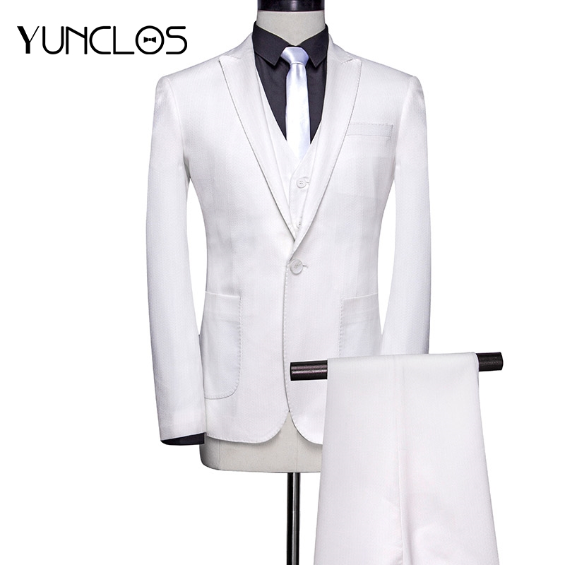 YUNCLOS Classic White Men Suit 3 Pieces Costume Homme Business Wedding Suits For Men Classic Men Suit with Pant