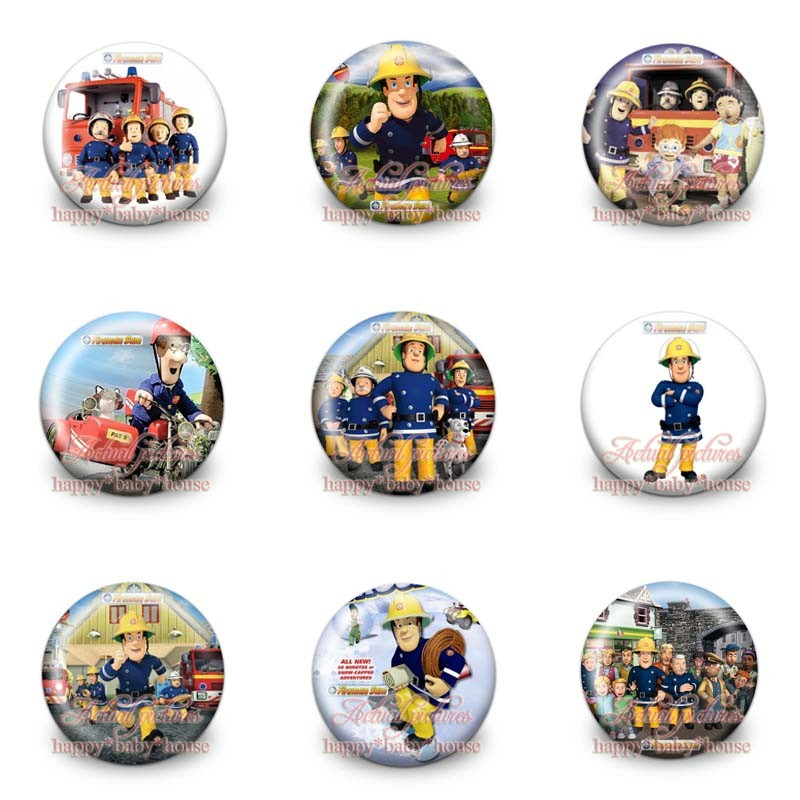 Hot 45Pcs 9Styles Fireman San Cartoon Buttons Pins Badges Round Badges,30MM Diameter,Accessories For Clothing/Bags,Kids Gifts