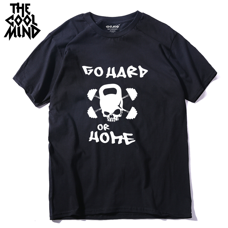 COOLMIND PU0123A 100% cotton go hard or home print men t-shirt short sleeve tshirt cool summer t shirt tee