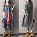 2016 do sexo feminino novo outono e inverno plus size projeto longo além de veludo com capuz outerwear color block print camisola