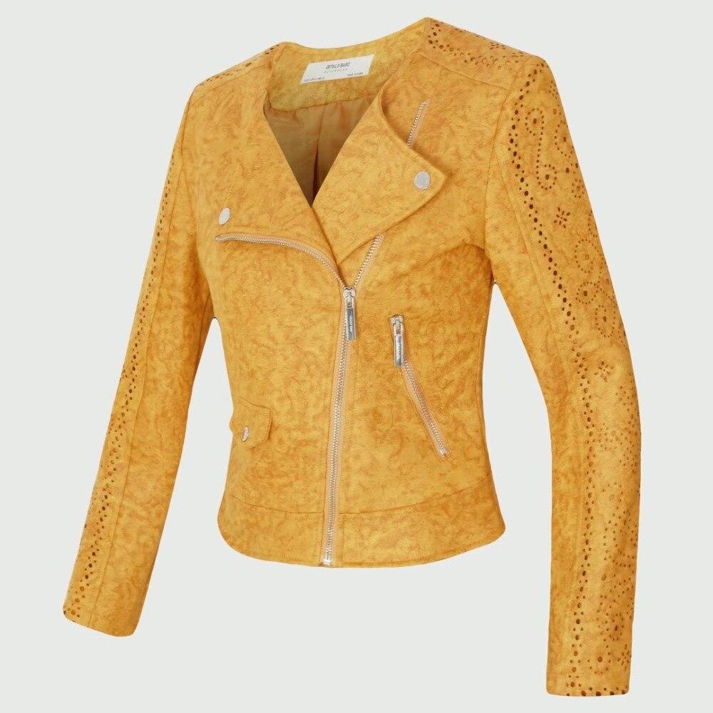 Femmes doux daim Faux cuir vestes Vintage col rabattu Zipper court Biker veste jaune gris rose évider manteau