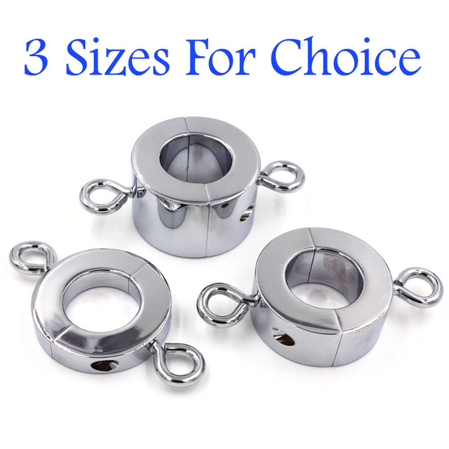 Male Chastity Device Male Chastity Metal Cock Ring 175g/345g/500g Metal Ball Stretcher Scrotum Pendant Restraint Locking