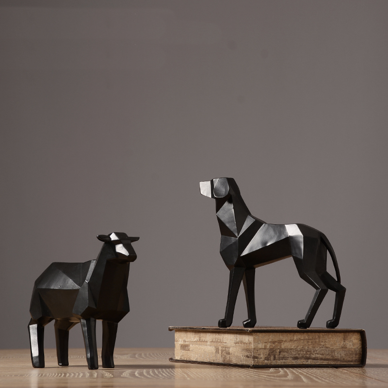 Abstract origami style art black dog sheep sculpture decoration Nordic Modern Animal geometric craft statue