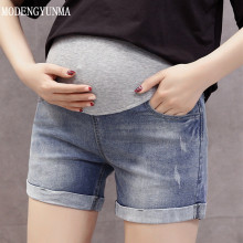 MODENGYUNMA Jeans Maternity Denim Summer Shorts For Pregnant Women Gravidas Clothing Clothes Elastic Abdominal Pants