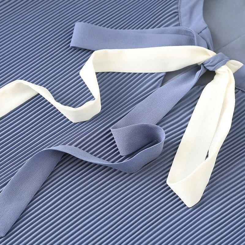 Manches Femmes Arc De Soie Élégante D'été Papillon Bleu Taille Casual Blue Lâche Robe 5xl Mousseline cou Cravate Plissée La Femme Robes D'o Plus rW8qrxaw5g