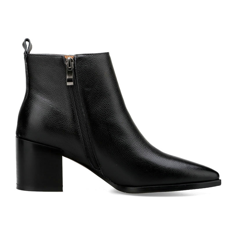 Botas Chelsea Damas Marca Punta rojo Tamaño Femenina De Sales Cuero Otoño Mujeres Genuino Plus Las Zapatos Tacones Negro vExn8gn