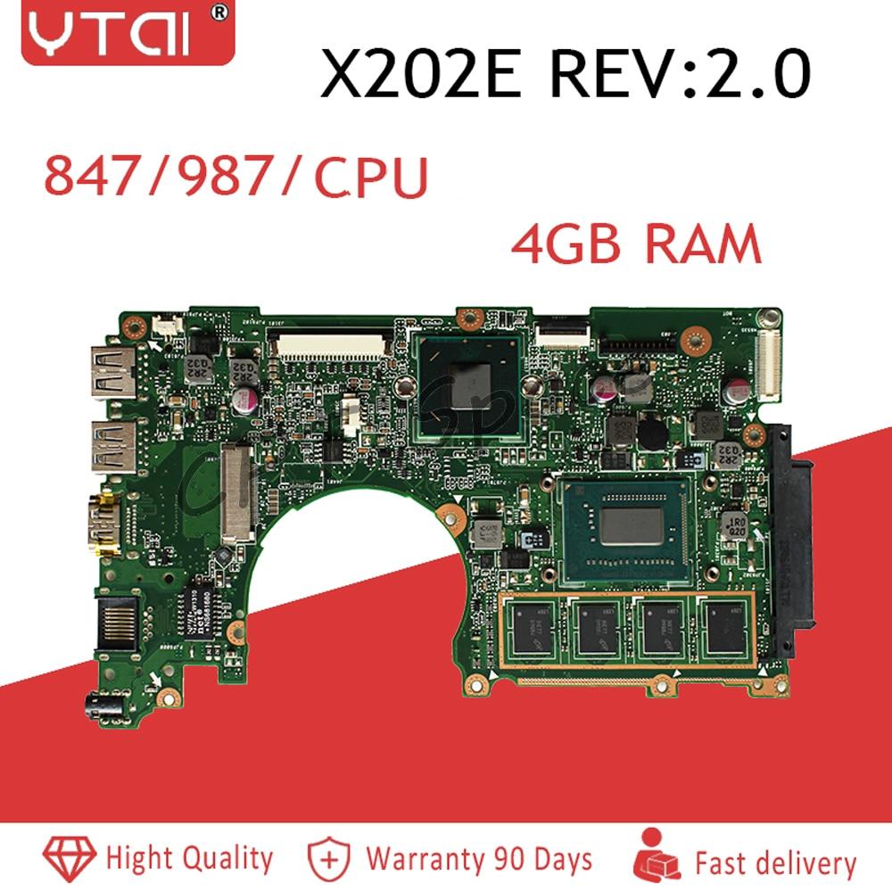X202E motherboard for ASUS X202E X201E S200E X201EP  Laptop motherboard  4G RAM 847/987CPU 100% tested intactX202E motherboard for ASUS X202E X201E S200E X201EP  Laptop motherboard  4G RAM 847/987CPU 100% tested intact