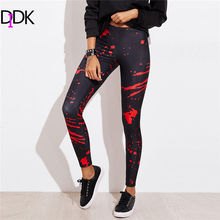 DIDK Ladies Abstract Print Leggings 2018 New Arrival Spring Colorblock Long Woman Trousers Mid Waist Stretchy Leggings