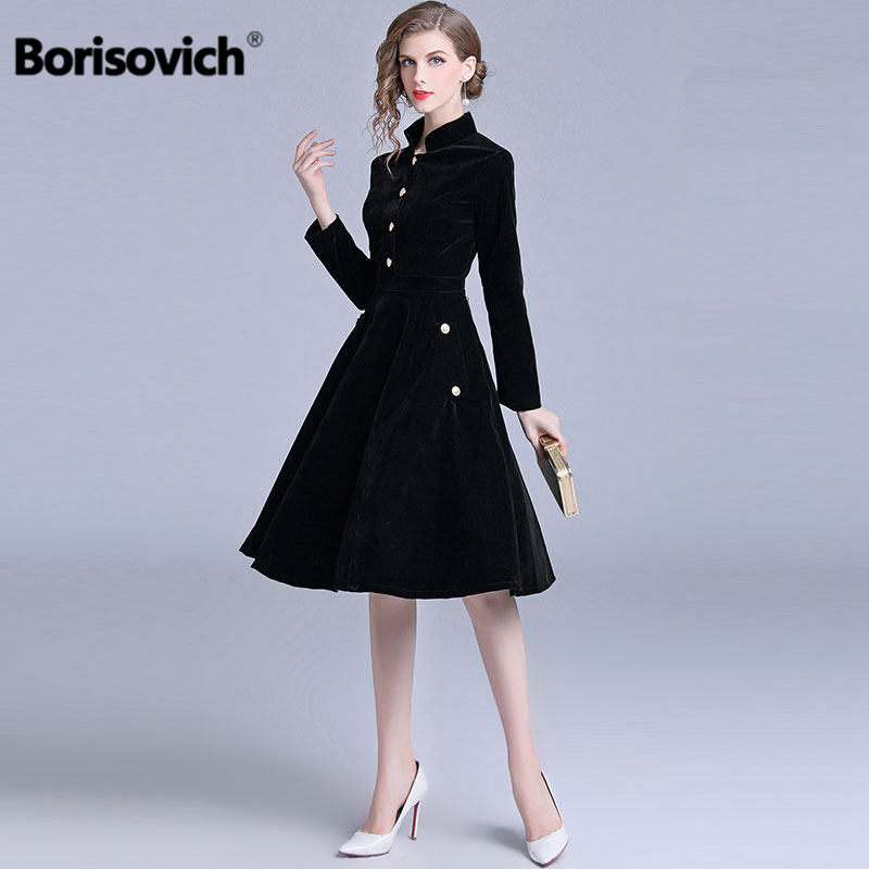Borisovich New Brand 2018 Autumn And Winter Fashion England Style Single Breasted Big Swing Elegant Women Casual Dresses M859