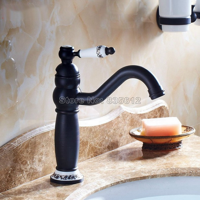 ФОТО Swivel Spout Bathroom Faucet / Black Oil Rubbed Single Hole Deck Mounted Classic Ceramic Handle Vessel Sink Mixer Taps Wnf507