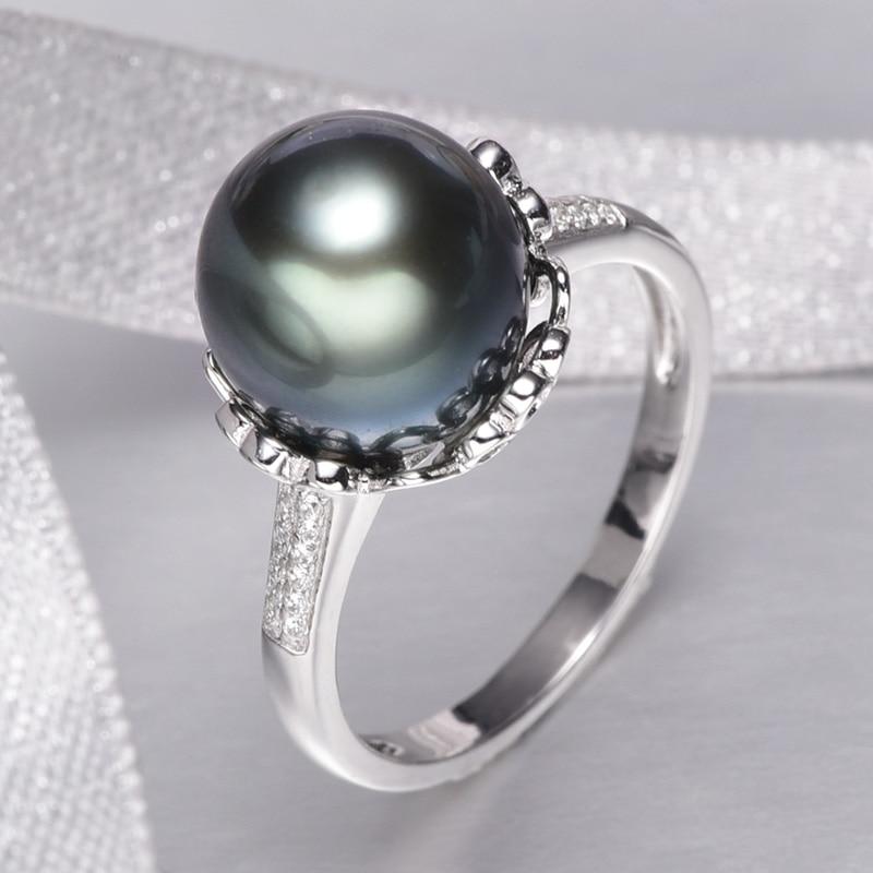 Bague en perle de culture de tahiti noire naturelle YS 10-11mm 925 bijoux en argent sterling - 4