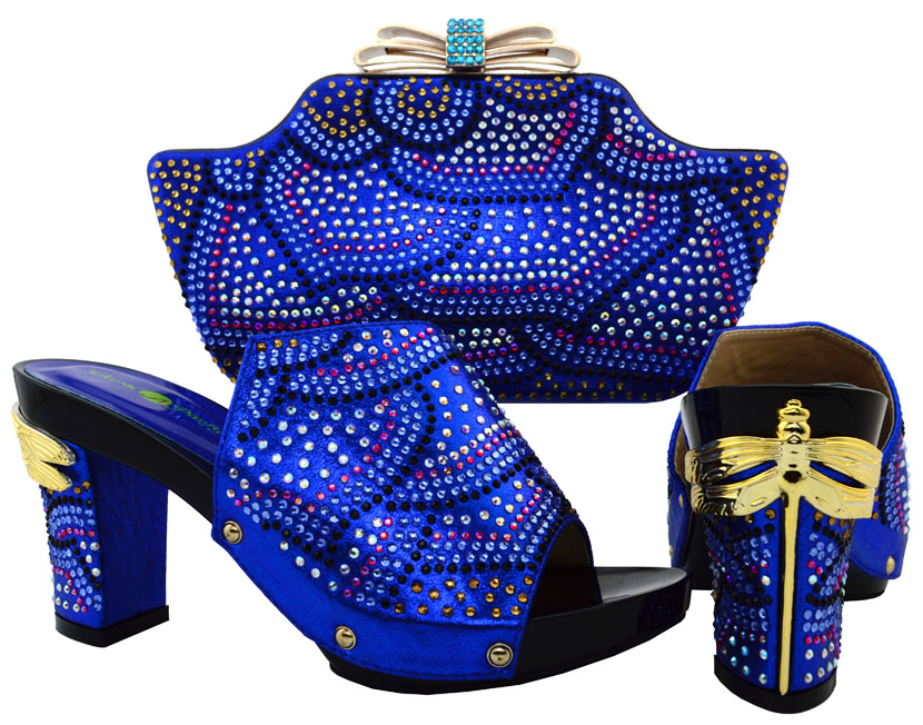 ФОТО 2017 Fashion Rhinestone New Design Shoes And Bag Set For Party Dress African Woman Pumps Shoe And Bag Set For Wedding BCH-15
