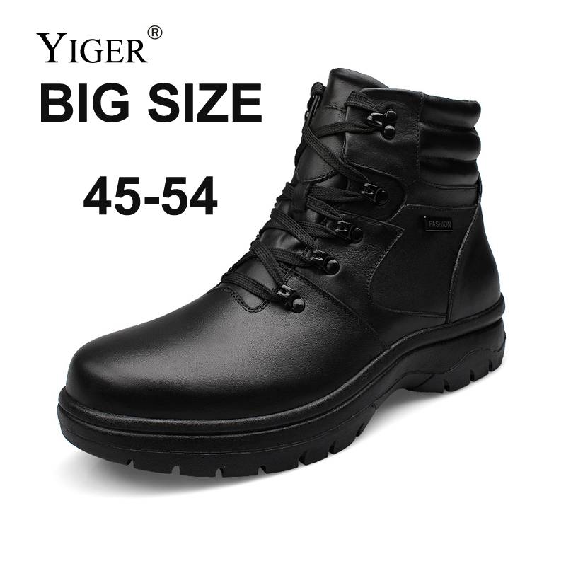 YIGER Men Boots Winter Shoes Martins Genuine-Leather Casual SUPER Man Male Lace-Up 00214