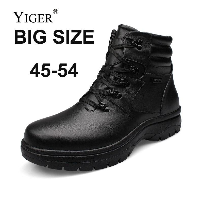 YIGER, очень большие размеры 45 54, мужские ботинки зимние ботинки на шнуровке мужская хлопковая обувь из натуральной кожи мужские повседневные ...
